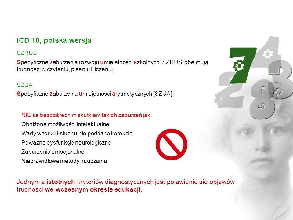 ICD 10, polska wersjaSZRUS. Specyficzne zaburzenia rozwoju umiejętności szkolnych [SZRUS] obejmują trudności w czytaniu, pisaniu i liczeniu.